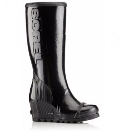 Bottes de pluie Sorel Joan Rain Wedge Tall Gloss (black, Sea Salt) femme