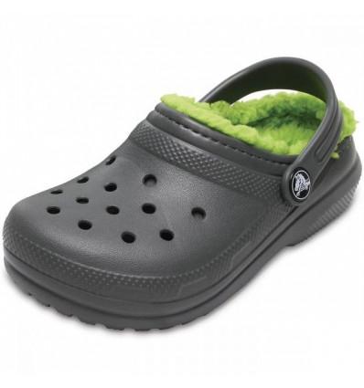 Crocs Kids' Classic Fuzz Lined Clog (Slate Grey/volt Green) enfants
