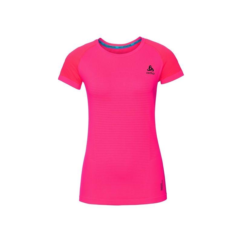 T-shirt Bl Top Crew Neck S/s Ceramicool Motion Odlo (fiery Coral) femme