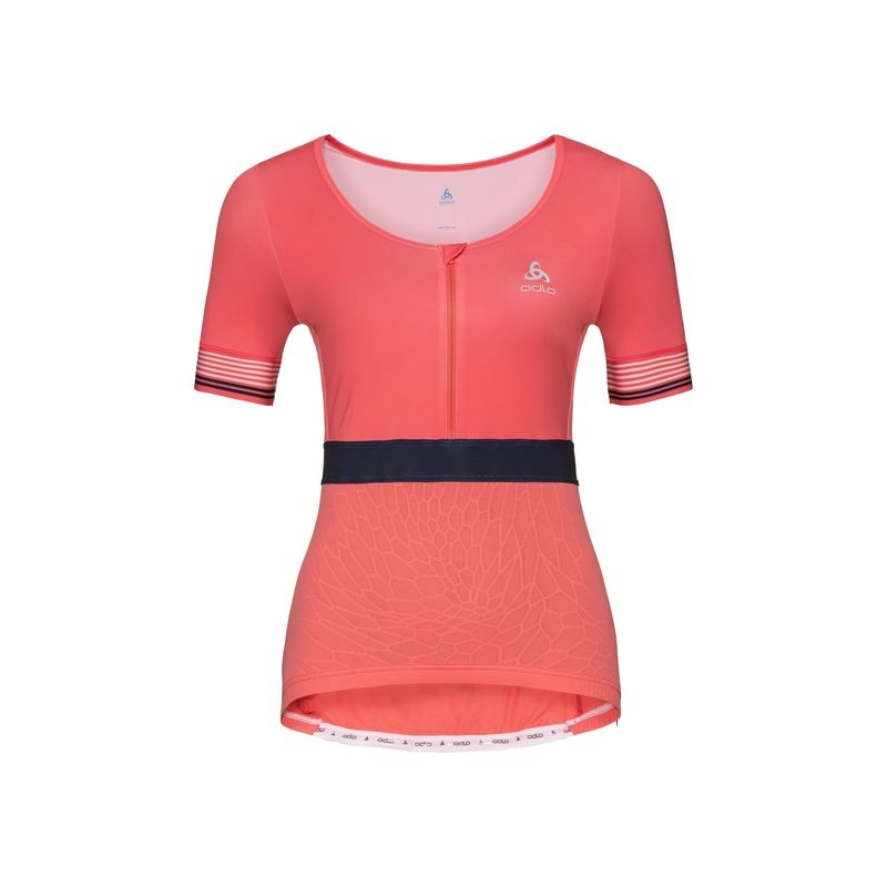 Maillot cyclisme Stand-up Collar S/s 1/2 Zip Ceramicool X Odlo (dubarry) femme
