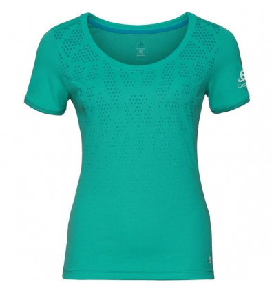 T-shirt Bl Top Crew Neck S/s Kumano F-dry Print Odlo (Pool Green - Placed Print Ss18) femme