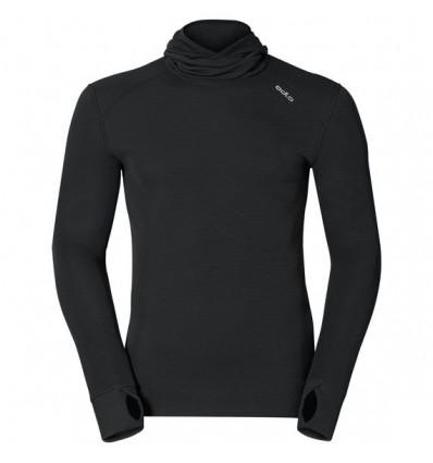 T-shirt L/s Warm Baselayer à capuche Odlo (black) homme