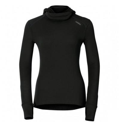 T-shirt L/s BASELAYER WARM avec cagoule Odlo (black) femme