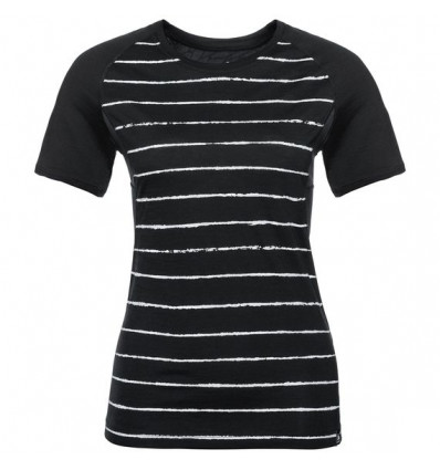 T-shirt s/s KOYA CERAMICOOL PRINT Odlo (black-placed print Ss18) femme