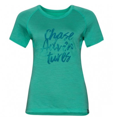 T-shirt s/s KOYA CERAMICOOL PRINT Odlo (pool green-placed print Ss18) femme