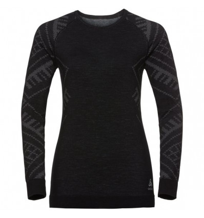 T-shirt col ras du cou manches longues Natural + Kinship Warm SUW Odlo (black Melange) femme
