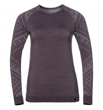 T-shirt col ras du cou manches longues Natural + Kinship Warm SUW Odlo (Vintage violet Melange) femme
