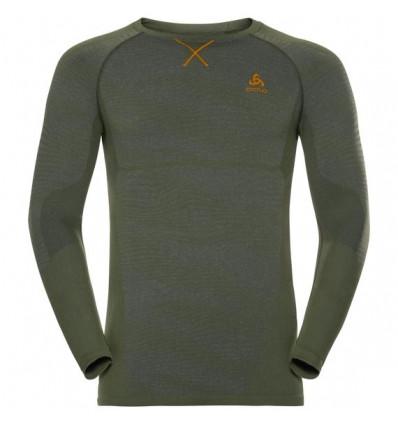 T-shirt manches longues Suw Top Crew Neck L/s Performance Blackcomb Odlo ( climbing ivy - black - orange clown fish)