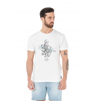 T-shirt manches courtes Octopus Tee Picture (A White)