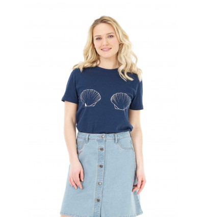 T-shirt manches courtes Mae Coquilles Tee Picture (A Dark Blue) femme