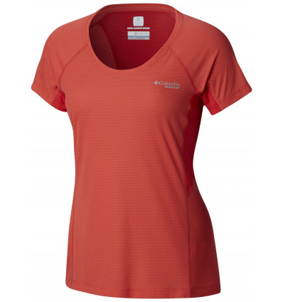 T-shirt running Columbia Titan Ultra II Ss (Red Coral, Cherrybomb) femme