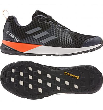 Adidas Terrex Two Gtx Trail Running Shoes (Black/Grey/Orange)