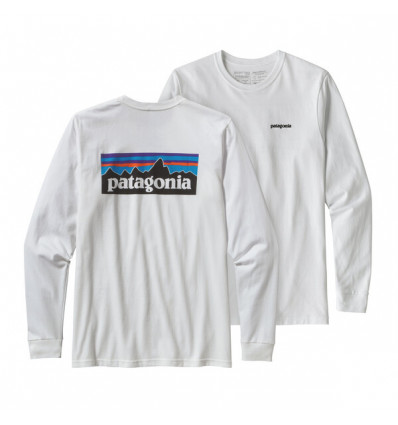 Tee-shirt manches mlongues Patagonia P6 Logo Responsibili-tee (blanc) homme
