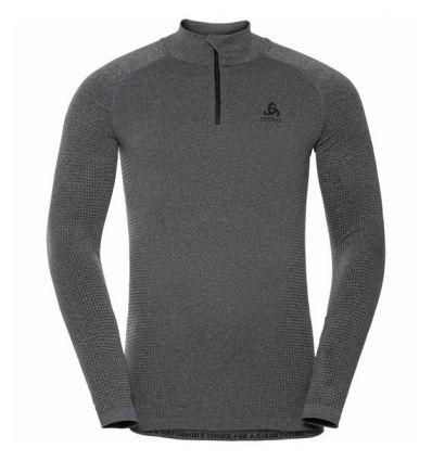 Tee-shirt technique à col montant ½ zip ODLO PERFORMANCE WARM ECO (grey Melange - Black) Homme