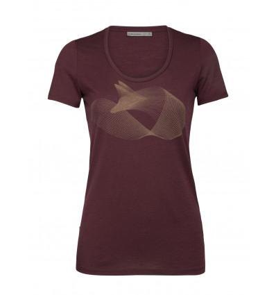 T shirt ICEBREAKER Merino Tech Lite Short Sleeve Scoop Polar Fox (Redwood) Femme