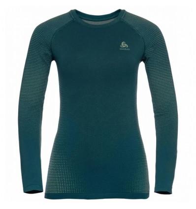 T-shirt manches longues Odlo Performance Warm ECO (submerged - tomatillo) femme
