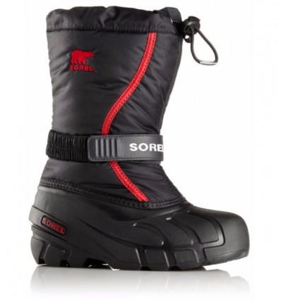 Bottes après ski Sorel Youth Flurry (noir, rouge vif) enfant